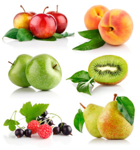 set fresh fruits with green leaves isolated on white background